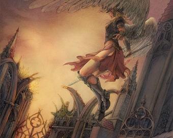Valkyrie Fantasy  Art Print 5x7 Gothic Architecture Angel Mythology Painting