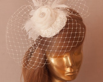 BIRDCAGE VEIL. Bridal Ivory Lace FASCINATOR with birdcage veil  Ivory Bridal Hat