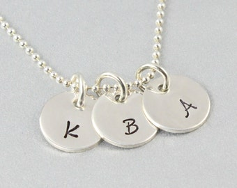 Three Initial Discs Necklace - Personalised - Sterling Silver - Hand Stamped Necklace