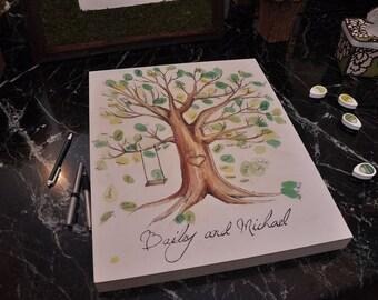 End of Summer Sale!!!! Hand Painted Fingerprint Tree! Original Wedding Guest Book Alternative!