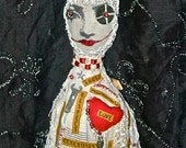 """Words Of Value - Hand Stitched Mixed Media Cloth Doll Feel Good Soft Sculpture """"Make A Little Nest In Your Soul"""""""
