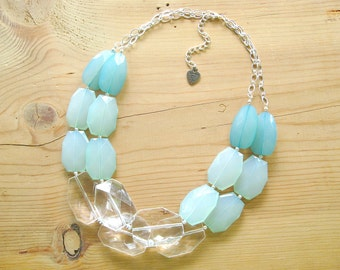 Mint statement necklace, Chunky Mint necklace, Ombre Mint with clear lucite necklace