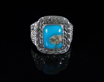 Men's Turquoise Ring; Sterling Silver, Handmade, Size 13.5, #R0226