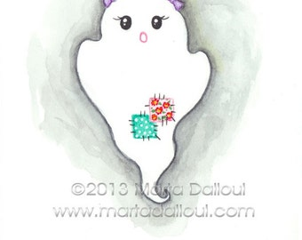 Halloween Ghost with pigtails watercolor art print. Cute girl ghost illustration. Whimsical halloween painting. Halloween wall art for girls