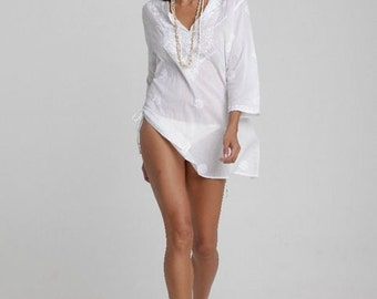 White Beach Kaftan, Beach Cover Up with Hand-Embroidery