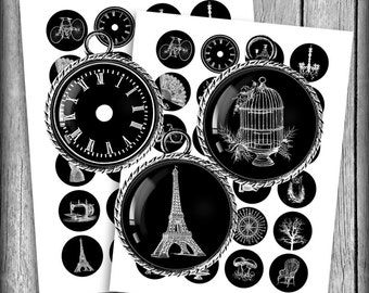 Vintage Silhouettes - Digital Collage Sheet 12mm, 14mm, 16mm Printable Circle Images - Instant Download