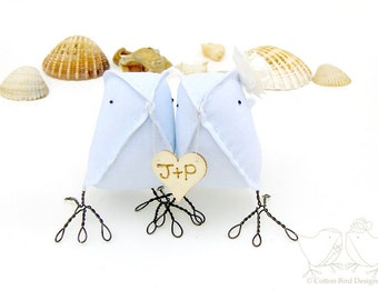 2nd Wedding Anniversary Blue Cotton Love Birds with personalized wood heart with your initials Made to order