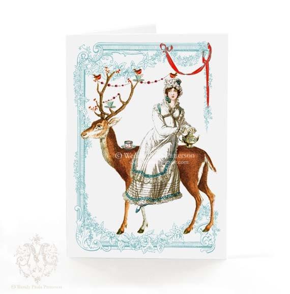Christmas card, Regency, Jane Austen, tea, deer, reindeer, antlers, red berries, robin, vintage teacups, vintage, holiday card, card for her