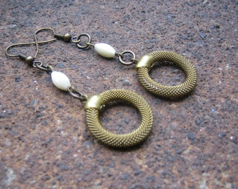 Eco-Friendly Dangle Earrings - Catch the Brass Ring - Recycled Vintage Brass Mesh Hoops and White Oval Mother of Pearl Beads