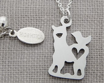 Mini Alpaca with Bird and Heart Necklace