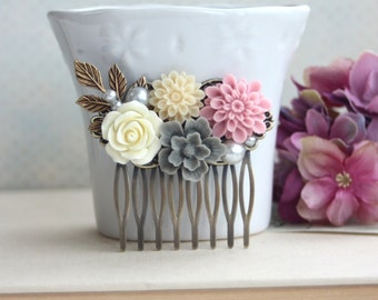 Ivory Rose, Grey Sakura, Pink Mum, Pearl, Brass Leaf Flower Hair Comb, Bridesmaids Gift, Wedding Comb. Pink and Grey Wedding. Rustic Country