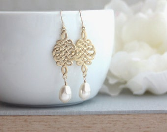 Gold Celtic Knot Earrings. Celtic and Ivory Pear Teardrop Pearl Earrings. Wedding Jewelry. Bridal. Bridesmaid Gift. Celts, Nordic Inspired.