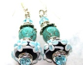 Crystal Lampwork & Turquoise Earrings- Free Shipping