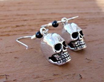 Skull Dangle Earrings Sterling Silver -82