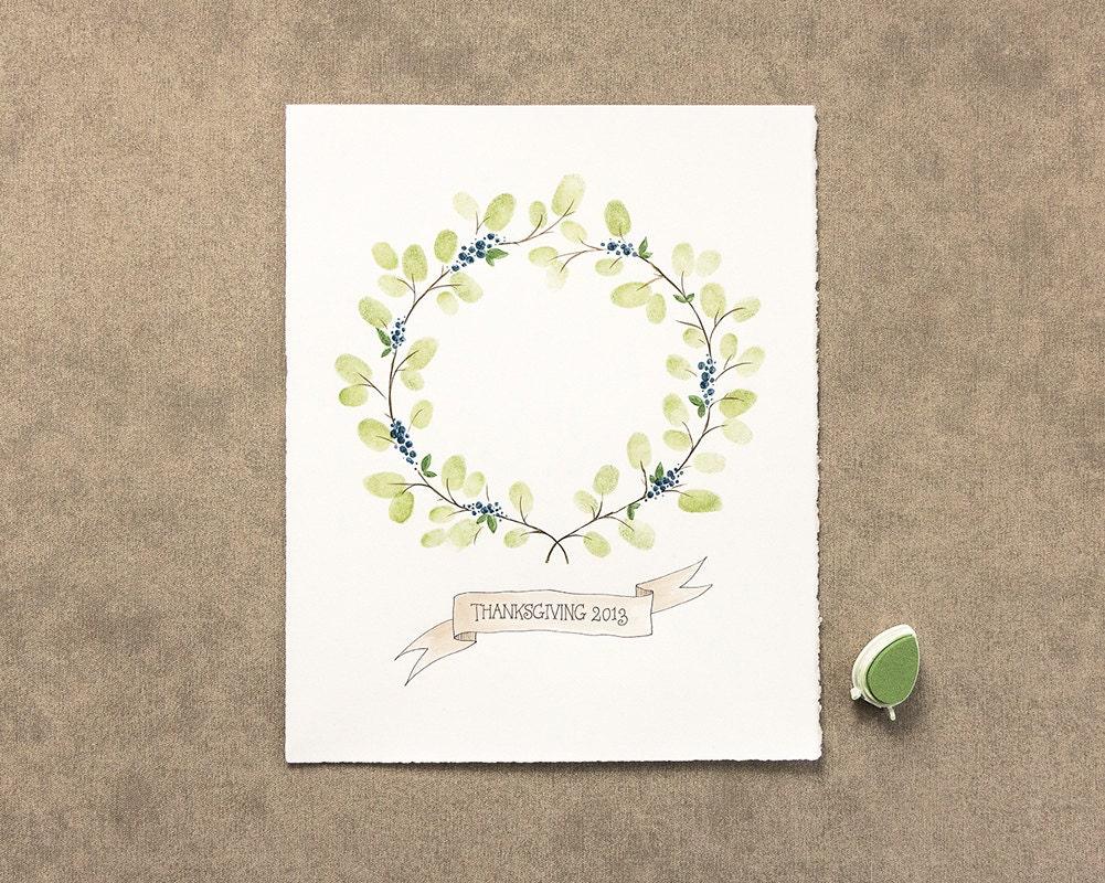 wedding thumbprint wreath guest book alternative wedding