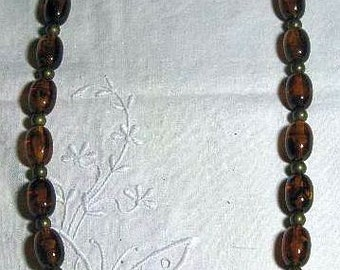 CLEARANCE SALE - Vintage Long Rootbeer Lucite Necklace  (N-1-1)
