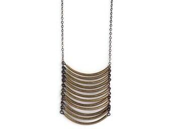 Brass Tube Necklace, Geometric Necklace, Tube Necklace, Brass Jewelry