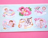 Vintage STICKERS / SEALS - Sheet of 6 Baby Stickers from 1962