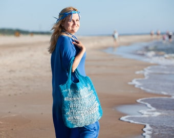 Felt handbag Blue color Wool and Linen Summer bag original and comfortable Women Accessory Ready for shipping