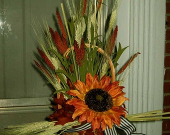 Basket dried and silk flowers centerpiece, Summer in Provence, ON SALE! sunflower, dried green wheat, French countryside