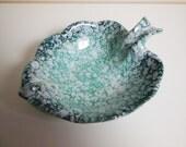 Seafoam Aqua Leaf Shaped Bowl - Vintage - USA Pottery