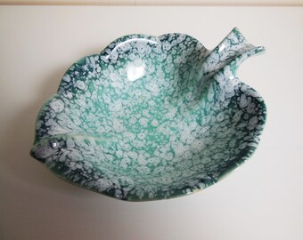 Seafoam Aqua Leaf Shaped Bowl - Vintage - USA Pottery - mint green spatter finish collectible pottery