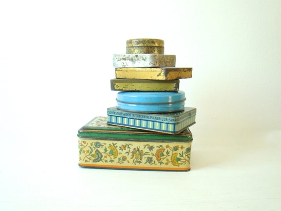 French tin boxes, collection of 7 french tins, rustic boxes, small box collection, 1930s, french home decor, old vintage canisters
