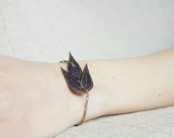 Stackable Purple Leaf Bracelet - Handmade Gifts for Her, Awareness Donation Bracelet