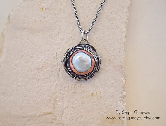 Round Circle Necklace  -  White Gemstone Pearl - Mixed Metal Silver & Bronze - Handmade with Order