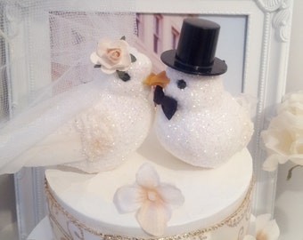 SALE CHOOSE YOUR female head flower for free wedding  romance  white doves birds  wedding anniversary cake topper