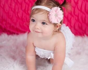 MORE COLORS-Chevron Pink Chiffon Elastic Headband-Infant Headband-Boutique Style-Shabby Chic-Pink Rhinestone Flower