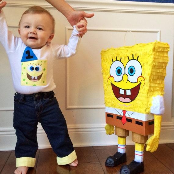 Sponge Bob 1st 2nd Birthday Shirt & Cuffed Pants Baby Boy
