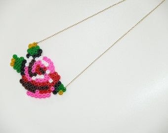 Gobelin Flower Necklace, Perler Bead Necklace,hand-made Beautiful Statement Necklace, Flower Necklace,