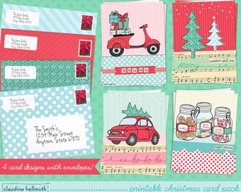 christmas card SET OF 4 designs printable kit - holiday greeting card printable pack  - instant download PDF