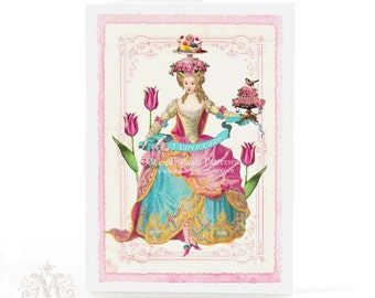 Marie Antoinette card, I love cake, birthday card, pink roses, tulips, cake, pink, vintage style, blank card