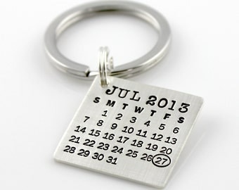 Keychain, hand stamped and personalized - Mark Your Calendar Keychain personalized sterling silver keychain - save the date