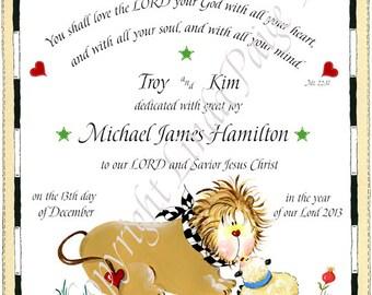 Dedication Baptism Personalized Gift  Linda Paige Tolis  Baby Dedication  Certificate  Lion And Lamb