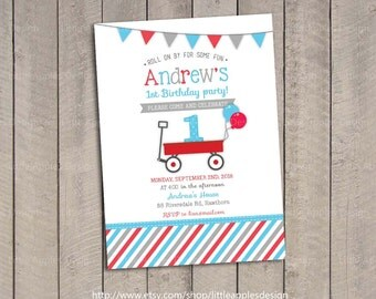 Red Wagon Birthday Invitation / Red Wagon invitation / Little Red Wagon Invitation / Red Wagon Party / Little Red Wagon Birthday