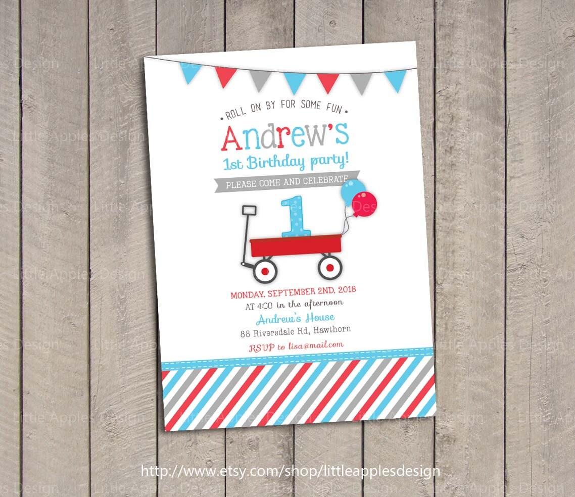 Red Wagon Birthday Invitation / Red Wagon Invitation / Little