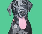 Portrait of your pet from your photographs - 8x10 - Pet portrait painted - Gouache custom Portrait - Custom pet portrait