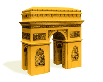 Arc de Triomphe - paper architecture model building kit || 16 cm - 6 inches high || white - gold - silver - steel color metallic paper