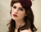 Veiled Cocktail Hat in Wool Felt a Chic Tea Party Hat, Vintage Style Hat - Georgette