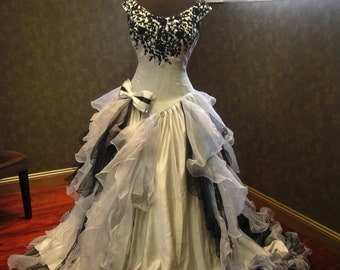 Sensational Silver and Black Wedding Dress Gothic Victorian Custom Made to your Measurements