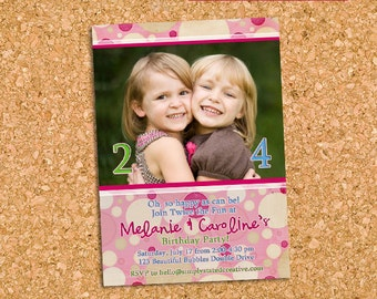 Combined Birthday Party Photo Invitation, Joint Birthday Party Invite, Pink Sisters Dual Party - DiY Printable || Beautiful Bubbles Double