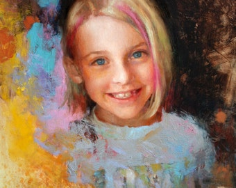 Custom portrait oil painting, 12 x 16 inches children child family from photo realistic kids girl girls colorful people creative background