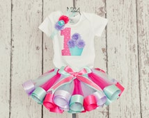 Baby Girl 1st Birthday Onesie or T-Shirt w/ Hot Pink Polka Dot Age number with a small aqua and lavender 3D Cupcake (no headband or tutu)