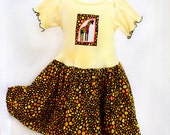 Rainbow Giraffe Appliquéd Toddler Dress Baby Girl Clothes Safari First Birthday Outfit Baby Dress Yellow Baby Dress Girl Toddler Gift 6m-4T