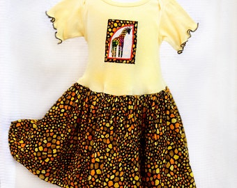 Rainbow Kids Giraffe Baby Girl Clothes Appliqué Baby Girl Dress Safari First Birthday Outfit Yellow Baby Dress Girl Baby Gift African Animal