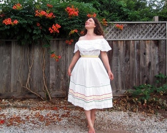 1960s Mexican style skirt White cotton rick rack eyelet S/M