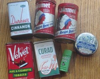 Qty of 7 Tins Curad Doan's Pills Calumet Durkee Cinnamon Velvet Tobacco and Starless Gall Salve